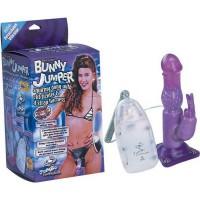 Страпон Bunny Jumper с вибрацией и клиторальным зайчиком, фи...