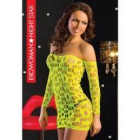 Эротическое платье-сетка, цвет лайм, размер S/L