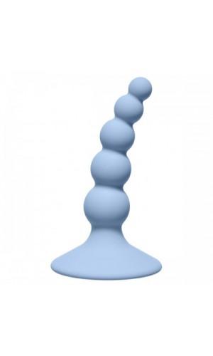 Анальная пробка Ribbed Plug, голубая