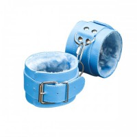 Наручники с мехом универсальные, голубые  5010-4