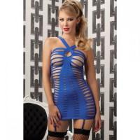 Синее платье с вырезами в стиле бондаж