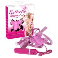 Вибростимулятор «Бабочка» Butterfly Strap On, розовый
