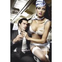 """Сексуальный игровой голубой костюм """"Улетная стюардесса"""""""