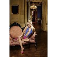 Эффектное кружевное боди Barbie, синий/ярко-розовый